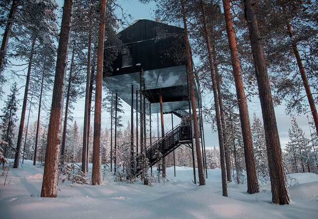 The most beautiful tree house in the world we have found in Sweden, with direct views of the northern lights