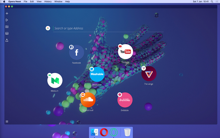 Neon is the new experimental browser of Opera and it looks like a mini operating system